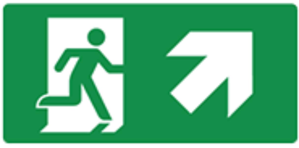 Pictogram vluchtweg trap op rechts