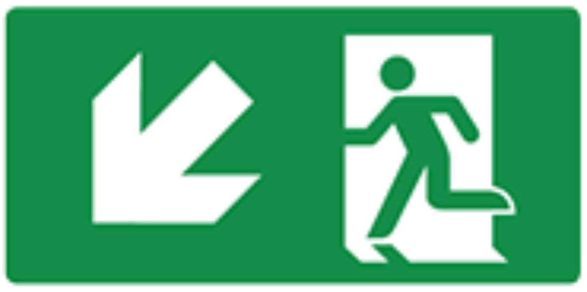 Pictogram vluchtweg trap af links